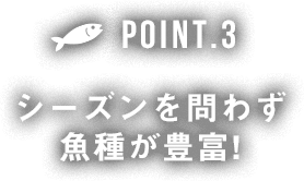 POINT3 シーズンを問わず業種が豊富!